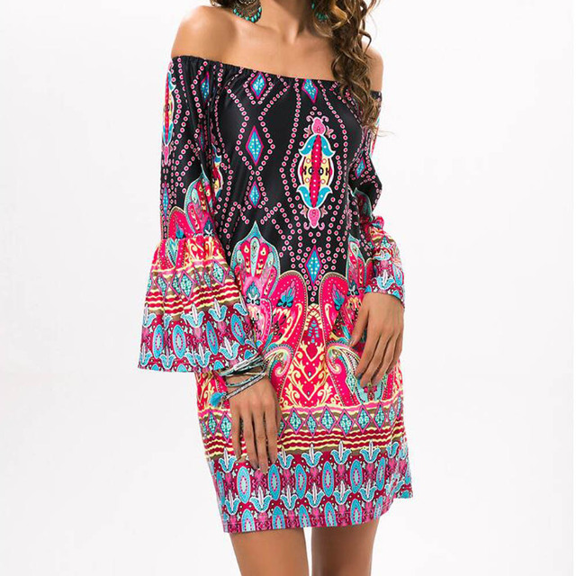 Summer Beach Dress Ethnic Style Floral Print Casual Vintage Bohemian Dresses Women Sexy Off Shoulder Robes Tunic Mini Dress
