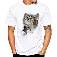 New Summer Men Tees Tops 3D Cute Cat T Shirt Men Funny Pass Through The Shirt