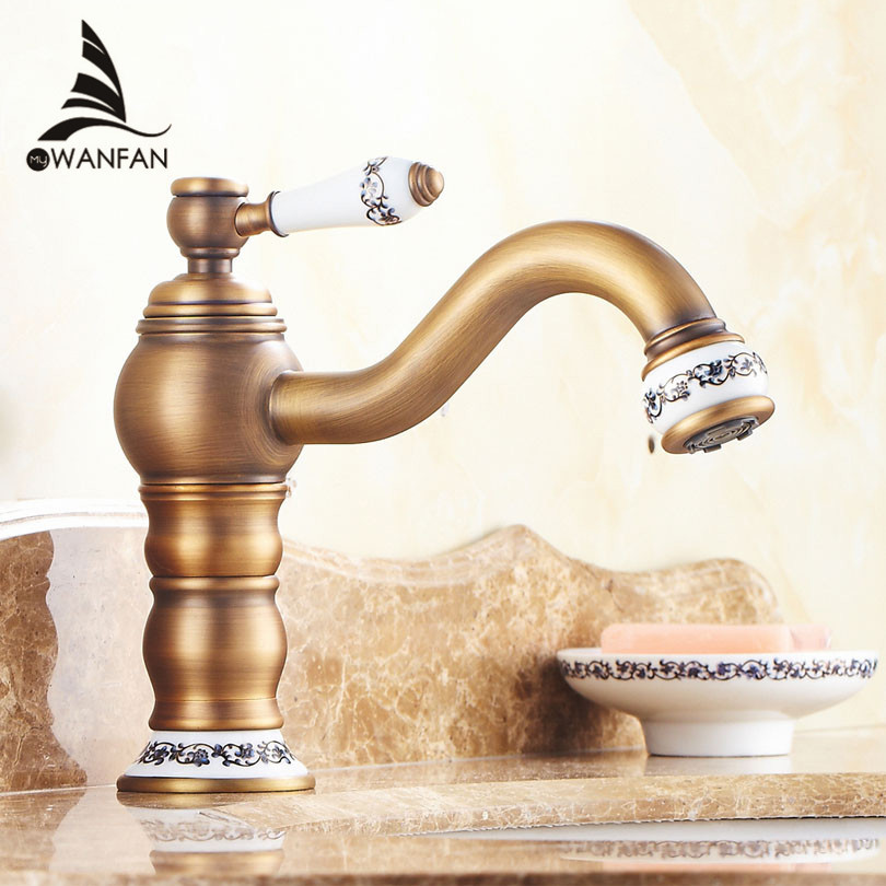 Basin Faucets Antique Brass Bathroom Sink Faucet Single Handle 360 Rotate High Spout Deck Mount Mixer Water Taps Cock JCS-5868F basin faucets modern gold faucet single hole bathroom faucets black bathroom sink mixer taps diamond on handle top wf 18055