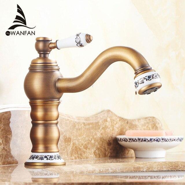 Basin Faucets Antique Brass Bathroom Sink Faucet Single Handle 360 ...