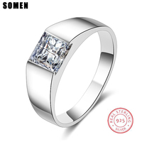 Somen Luxury Series 100% 925 Sterling Silver Men Rings Male Wedding Engagement Rings Anel Masculino Jewelry Free Engraving