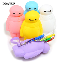 New Silicone Big Hero 6 Baymax Kawaii Pencil Cases Multi functional Stationery Pen Bags Storage Pencil
