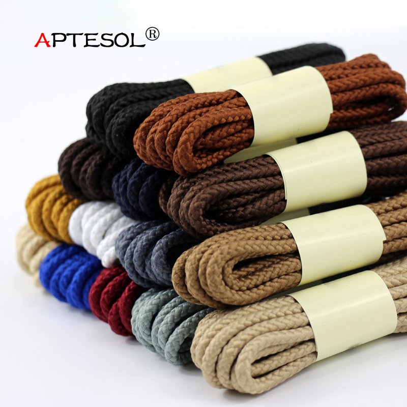 APTESOL 1 Pair 80/100/120/140/160 cm Solid Color Round Shoelaces for Fashion Casual Sneakers Leather Shoes Martin Boots Laces ...