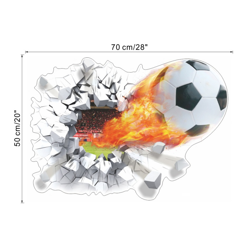3D Dimensional Broken Wall Soccer Wall Stickers Stereo Football Stickers ZY1473 Background Wall Sticker Wallpaper