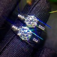 Кольца для влюбленных для женщин мужчин натуральный MoissaniteLover кольцо Бесплатная доставка палец 925 серебро