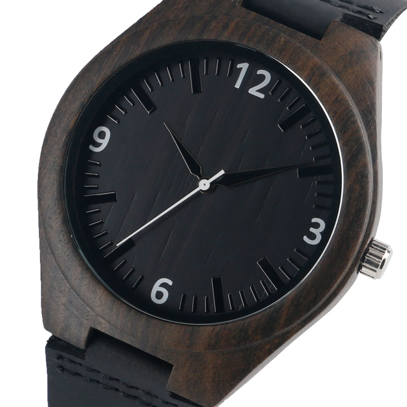 Nature Wood Watch 100% Walnut Dark Brown Bamboo Quartz Wristwatch Sport Leather Strap Fashion Wooden Clock for Women Men Gifts fashion casual nature wood wooden watches men sport quartz wristwatch black genuine leather band bamboo handmade gifts