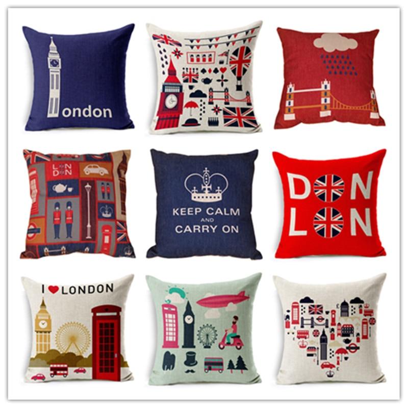 ᓂVenta caliente de algodón de lino cojines Londres estilo patrón