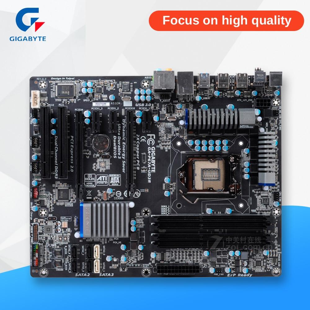 Gigabyte GA-P67A-UD3R Original Used Desktop Motherboard P67A-UD3R P67 LGA 1155 i3 i5 i7 DDR3 32G SATA3 ATX asrock h61m vg4 original used desktop motherboard h61 socket lga 1155 i3 i5 i7 ddr3 16g usb2 0 micro atx
