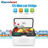DC 12V/24V 12L Mini Portable Car Fridge Cooler Box Digital Mute Temperature Display Dual core Refrigeration Truck Home