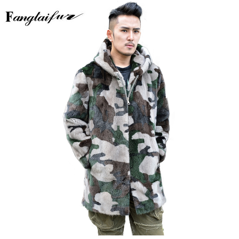 Mink-Fur-Coat Real-Mink Velvet Long with Hood-Loss Men's Camouflage Causal Fang Import