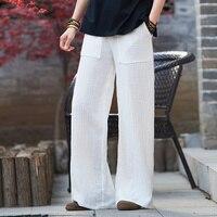 moda mujer 2018 trousers women roupas sweatpants 100% cotton linen Straight pantalon palazzo pants Broad leg pants
