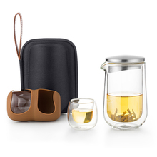 Samadoyo Portable travel Tea Sets Heat Resistant High Borosilicate Glass Prevent Scald Hand Double Wall Teaware  L005 sf 1l high borosilicate gg3 3 jacketed double wall glass reactors with ptfe discharge valve for heat