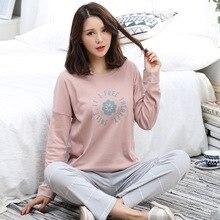 2017 Pijama Feminino Womens Pajamas Sets Spring Summer Female Knitted Cotton Pyjamas Sleepwear Loungewear
