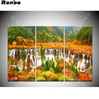 diy 5d diamond painting nature landscape diamond embroidery waterfall Cross Stitch 3pcs diamond mosaic Rhinestone decoration A8