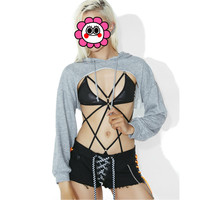 Abbille Sexy Loose Women Hoodies Lace Up Sweatshirts Autumn Long Sleeve Pullover Short Hooded Crop Top