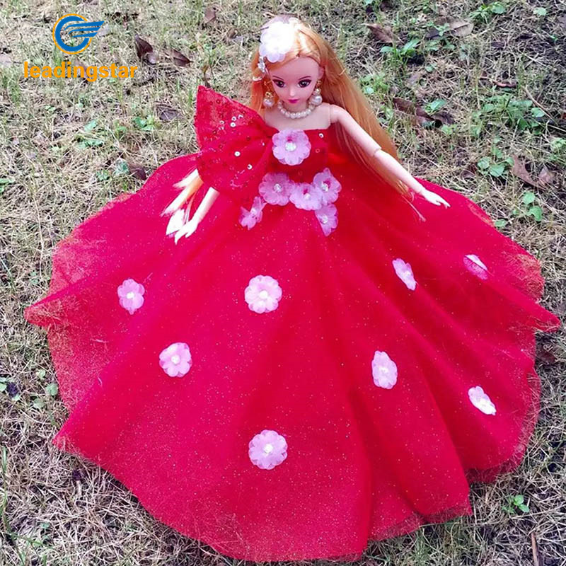 LeadingStar Princess Doll Wedding Dress Noble Party Gown For Barbie Doll Design Outfit Gift For Girl' Gift Red zk15