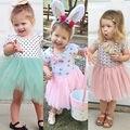 Halloween Del Bebé Muchachas de Los Cabritos Vestido Shell Polka Dot Sólido Encaje de Tul Vestidos de Fiesta 2016