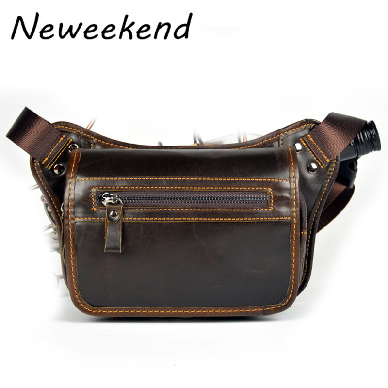 NEWEEKEND Genuine Leather Crazy Horse Portable Small Hasp 7 inch Phone Cash Card Holder Waist Belt Bag for Man LZ-W030 women wallet leather coin purse ladies credit card holder zipper retro long bifold clutch carteira portefeuille femme gift 2017