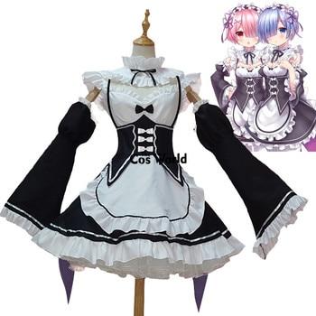 A cero Kara Hajimeru Isekai Seikatsu Ramu RAM REM criada delantal vestido  traje uniforme Anime Cosplay disfraces 1b8a2cec1596