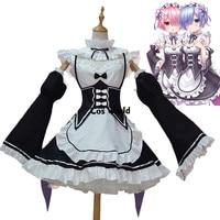 Re Zero Kara Hajimeru Isekai Seikatsu Ramu RAM Remu REM Maid Apron Dress Outfit Uniform Anime Cosplay Costumes