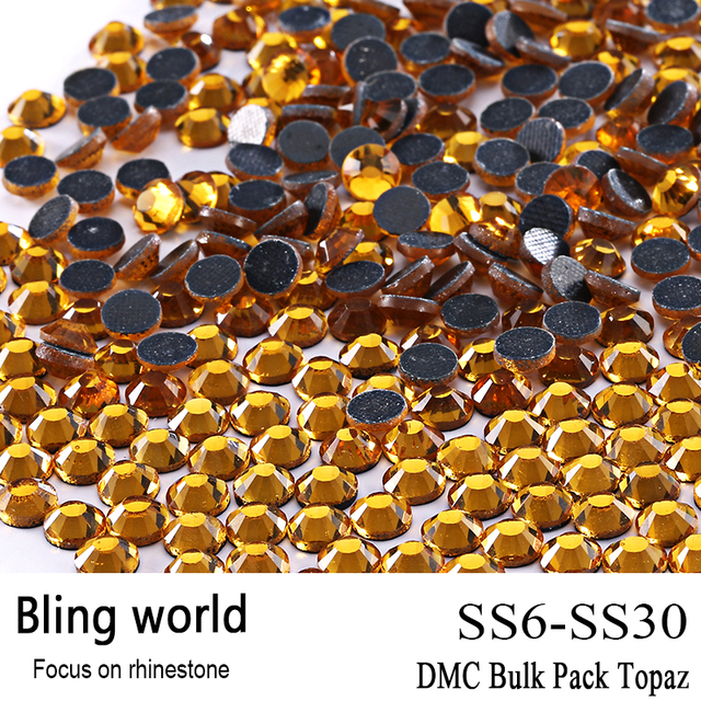 The Crafts Outlet DMC Hotfix Superior Quality Glass Round Topaz Rhinestone Embellishment Size SS6 SS10 SS16 SS20 SS30