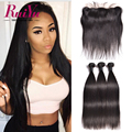 Lace Frontal Closure With Bundles Peruvian Virgin Hair With Closure Peruvian Straight Human Hair Bundles With Frontal Closure