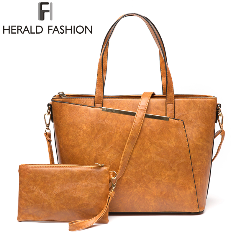 Herald Fashion Women Handbags PU Leather Composite Bag Large Capacity Tote Bag Female Top-Handle Bags Ladies Shoulder Bag