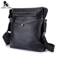 LAOSHIZI LUOSEN Genuine Cowhide Leather Men Bags Fashion Shoulder Crossbody Bag Business Casual Zipper Male Messenger
