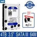Внутренний жесткий диск WD Blue на 4 ТБ, 3,5 дюйма, 5400 об/мин, 64 Мб кэш-памяти, SATA III, 6 ГБ/сек., 4T, 4000 Гб HDD, жесткий диск HD для настольного компьютера