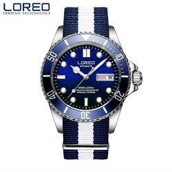 LOREO proste moda świecenia automatyczne zegarek mechaniczny kalendarz odporny na zarysowania mężczyźni biznes zegarek profesjonalny zegarek do nurkowania w Zegarki mechaniczne od Zegarki na
