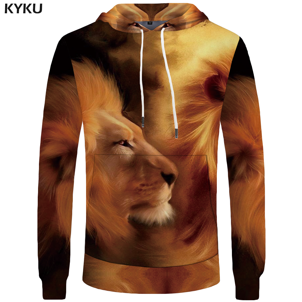 KYKU Brand Lion Hoodies Men Harajuku Sweatshirts Animal Sweatshirt Pocket Hoddie Big Size 3d Hoodies Tracksuit 2018 Print
