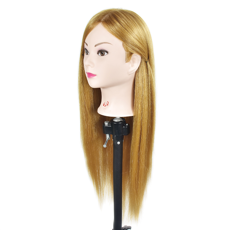 Factory Wholesale Best Qualtiy 65cm Blonde Hair Training Head Hairdressing Can Curl Mannequin Training Head and Free Clamp