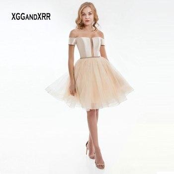 80b14f3a0c4 Короткое платье на выпускной 2019 пышная фатиновая юбка с короткими  рукавами