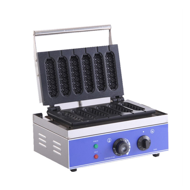 220 V/110 V Elettrico per Uso Professionale 6 Pezzi Mais Croccante Hot Dog Waffle Maker Non-stick Focaccina Francese VEVOR Lovehappyshopping Store Store