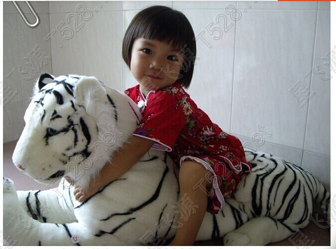Tiger toy artificial animal plush toy doll furniture ultralarge white tiger toy about 1.25m huge tiger stuffed animal 110cm plush tiger toy about 43 inch simulation tiger doll great gift free shipping w018