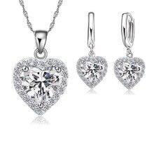 Прекрасный 925 пробы Серебряный набор украшений для женщин свадебные сердце Австрийские ожерелья с кристаллами серьги набор День святого Валентина