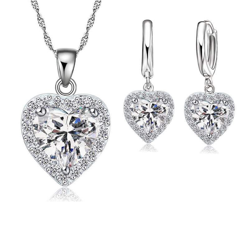 Fine 925 Sterling Silver Jewelry Set For Women Bridal Wedding Heart Austrian Crystal Necklaces Earrings Set Valentine Day