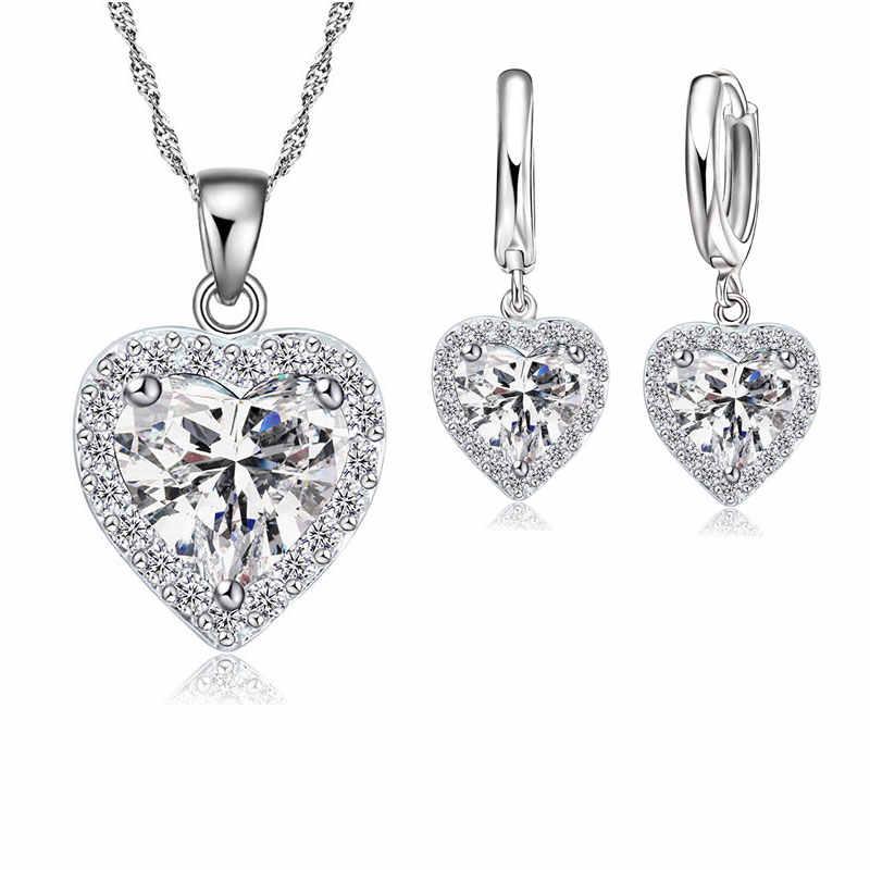 Baik 925 Sterling Silver Perhiasan Set untuk Wanita Bridal Pernikahan Jantung Austria Crystal Kalung Anting-Anting Set Hari Valentine