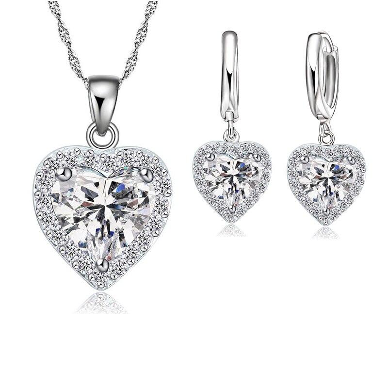 Fine 925 en argent Sterling ensemble de bijoux pour les femmes mariée mariage coeur autrichien cristal colliers boucles d'oreilles ensemble saint valentin