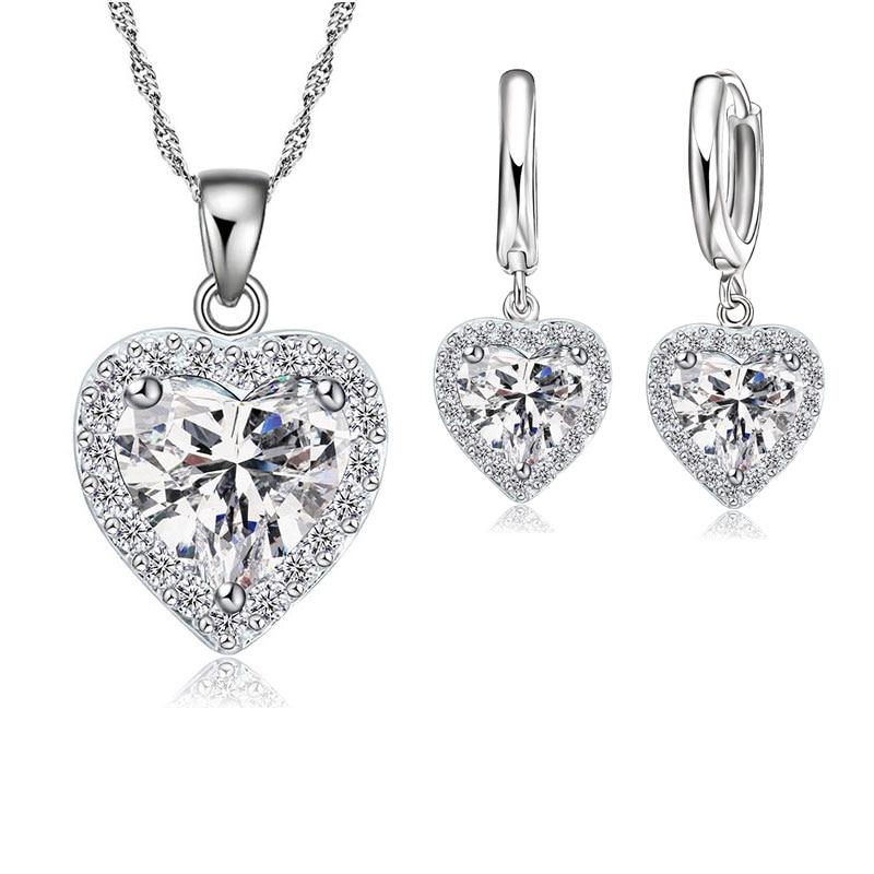 Jemmin fine 925 пробы серебряный комплект ювелирных изделий для женщин Свадебные сердце австрийского хрусталя ожерелья серьги ко