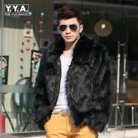 Men New Winter Black Fashion Luxury Faux Fur Coat Fox Fur Turn Down Collar Full Fur