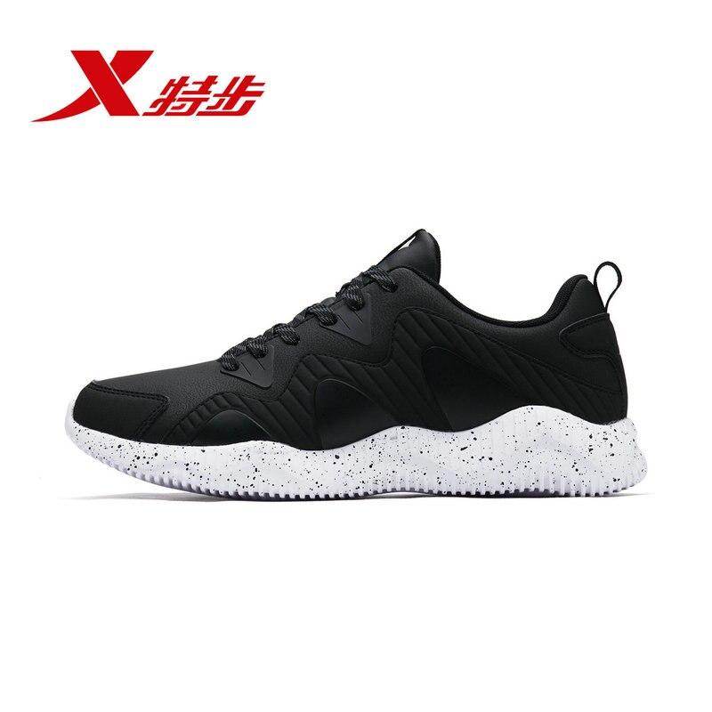 982319119013 XTEP 2018 зимние теплые Нескользящие высокое качество спортивные черные кожаные для мужчин кроссовки
