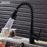 GIZERO Free Shipping Deck Mounted Pull Down Spring Kitchen Faucet Hot Cold Black Paint With White