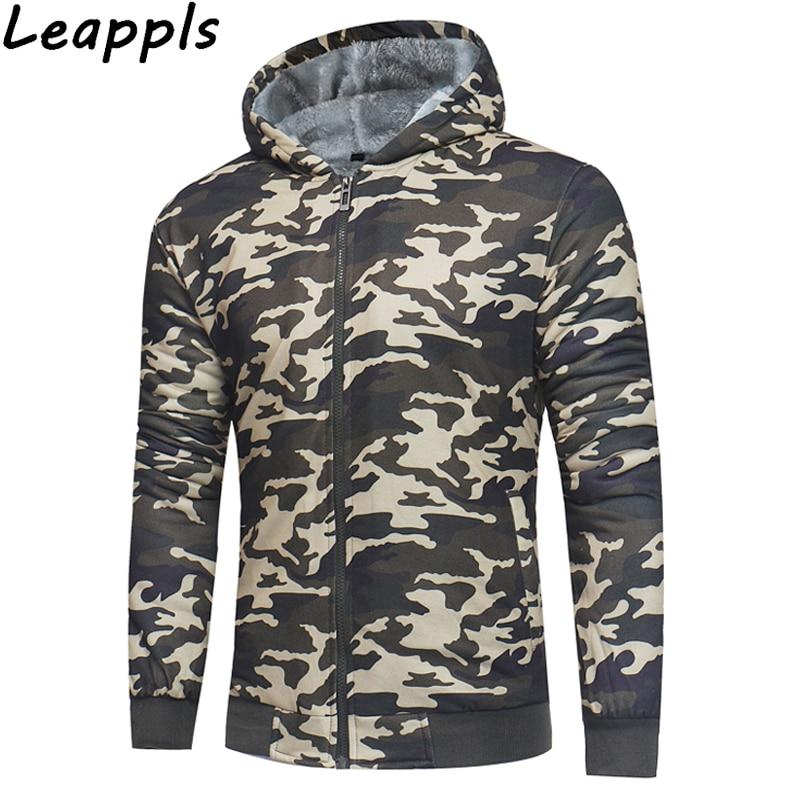 Leappls Camouflage Hoodies Sweatshirts Men Hooded Cardigan Hoodies Men Zipper Coat Brand Man Tracksuit velvet thickening winter