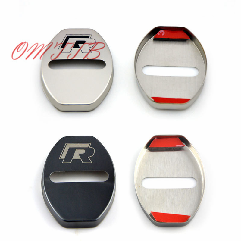 4pcs Car Door Lock Cover Case For VW Volkswagen R Line Golf 5 Polo Passat B5 B6 Touran RLine Accessories Car Styling hot sale abs chromed front behind fog lamp cover 2pcs set car accessories for volkswagen vw tiguan 2010 2011 2012 2013
