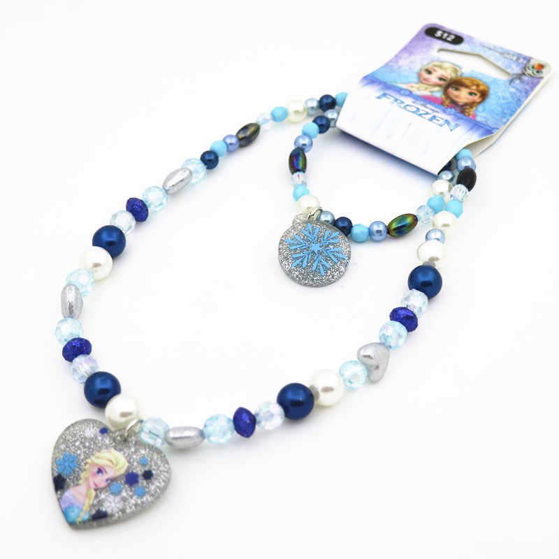 2pcs Disney cartoon Elsa Children necklace+bracelet doll  Frozen charms sweater accessories girl kid birthday gift cosmetic toy