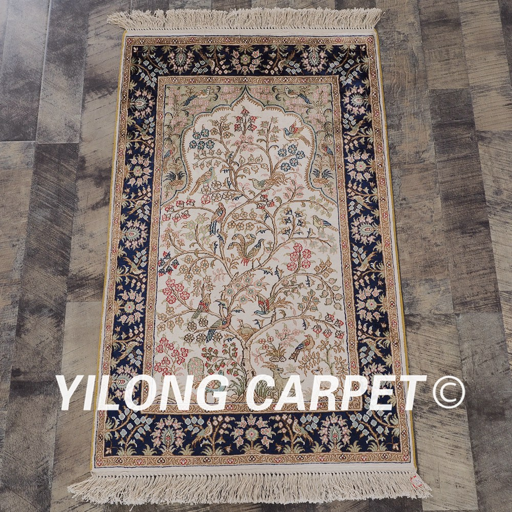 Yilong 2x3 300 линии ручной работы ковры ручной работы Дерево жизни узор шелковый ковер ручной работы (lh123a2x3)