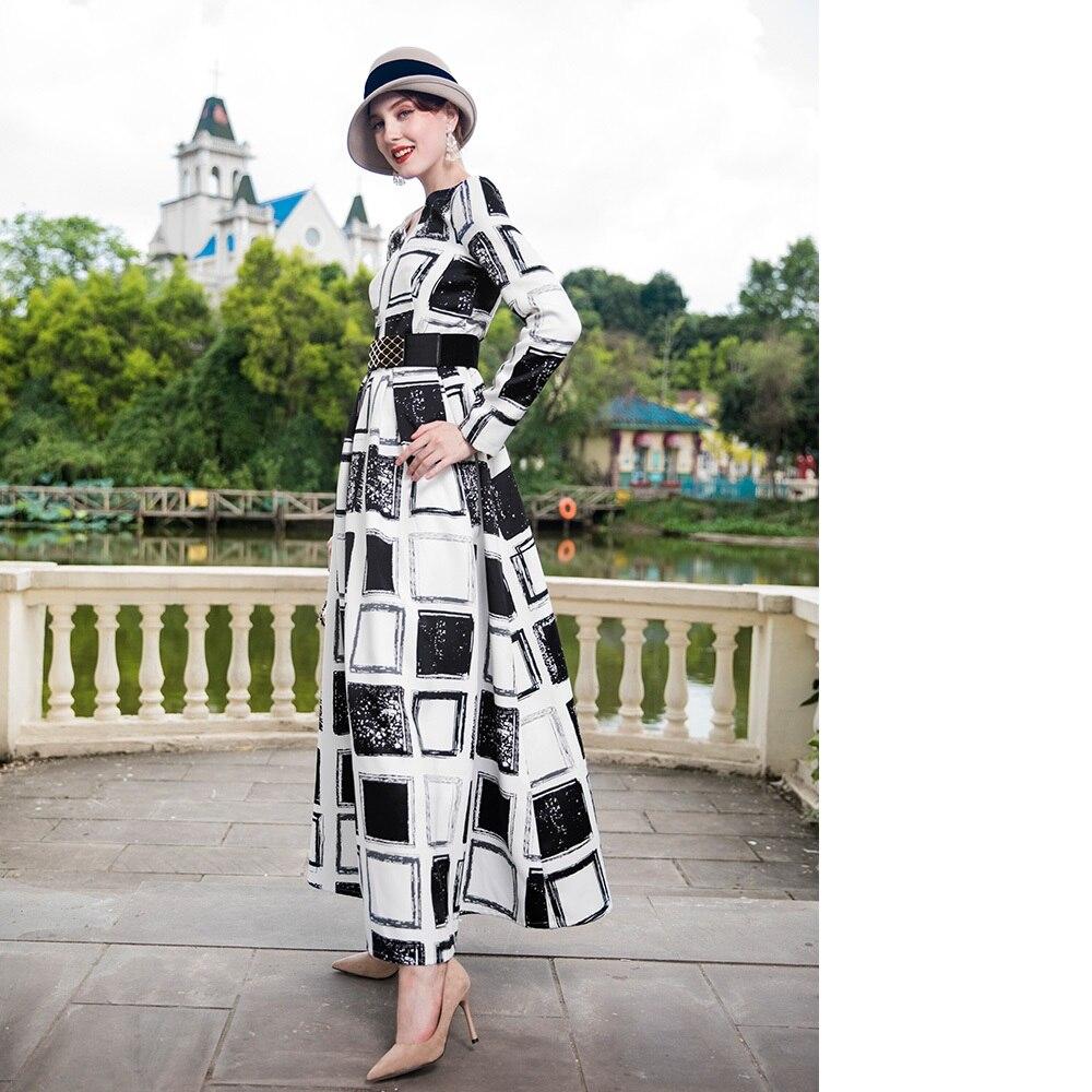 Платье макси с длинным рукавом 2018 осень зима размера плюс женская одежда винтажные черные белые клетчатые вечерние платья с принтом длинно... - 2