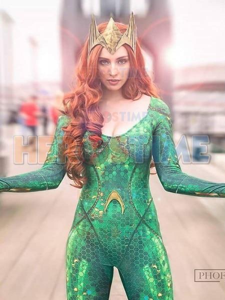 Aquaman Mera Wig Cosplay Costume Zentai Suit 3D Print Halloween Zentai Gift
