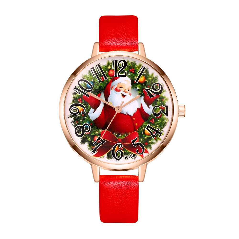 New Year Watches Men And Women Students Watch Christmas Gift High Quality Leather Santa Claus Casual Ladies Quartz Watch &Ff